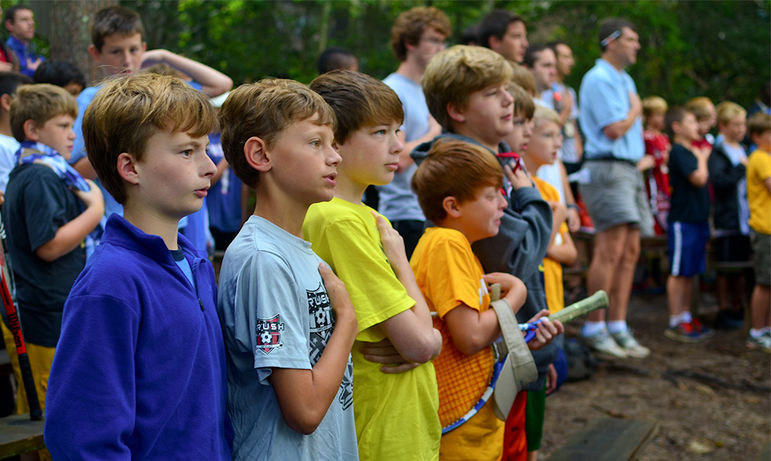 Morning Watch concludes with the boys reciting the Pledge of Allegiance, and then walking to the dining hall for a hearty breakfast.