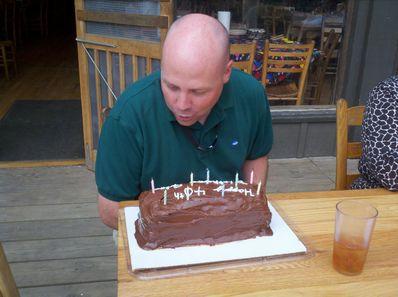 Camp friends celebrating Jim Goodrum's birthday.