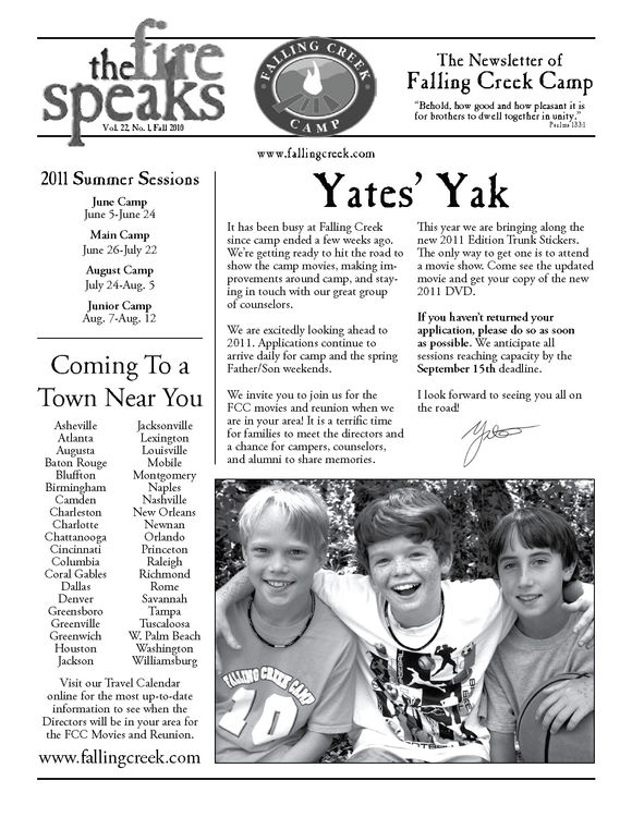 First page of our camp newsletter for 2010.