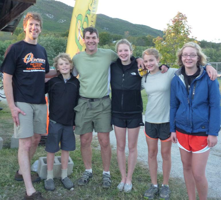 (l to r) Ellison, Matt, Yates, Brooke, Lucy & Annie after the Odyssey Adventure Race in Buchanan, VA on 10-16-10