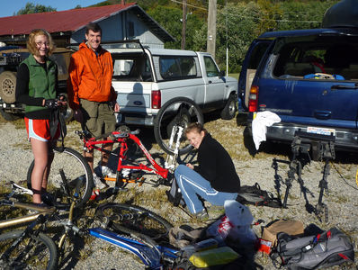 The Pharr's preparing their gear for the Odyssey Adventure Race in Buchanan, VA on 10-16-10