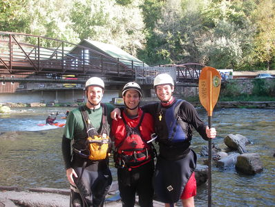 John Bates, Chris Stec and Crom Carey paddling the Nantahala.