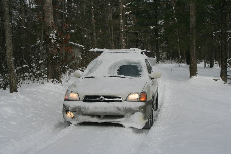 Nathan blasting through the snow in the Subaru at Falling Creek Camp