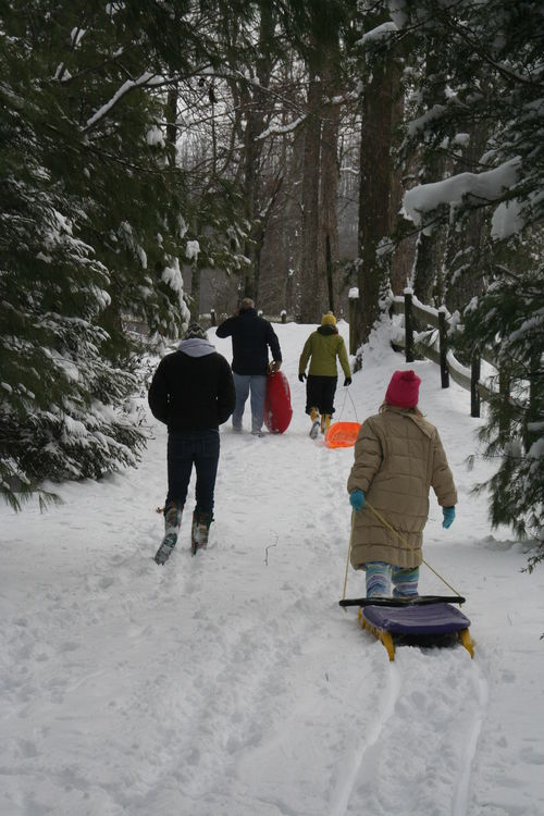 Going sledding at Falling Creek Camp