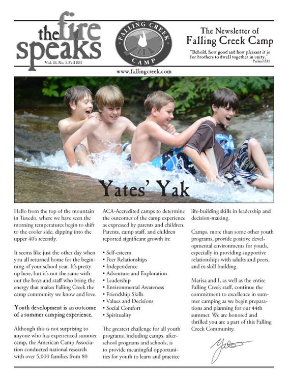 Cover page of our summer camp newsletter.