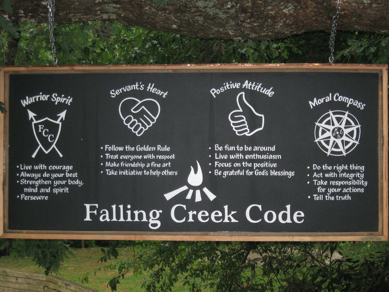 The Code hangs outside the Dining Hall at Falling Creek Camp.