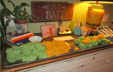 The Crawford's served Pizza, but the Highlight was Green and Gold Rice Krispies Treats