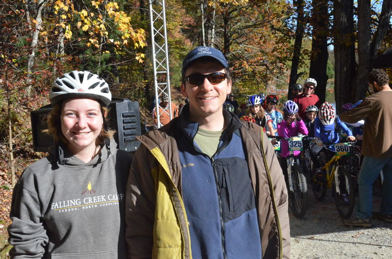 Annie Pharr and Famous FCC camper and counselor Steve Drewry at the CYMBL Finish Line