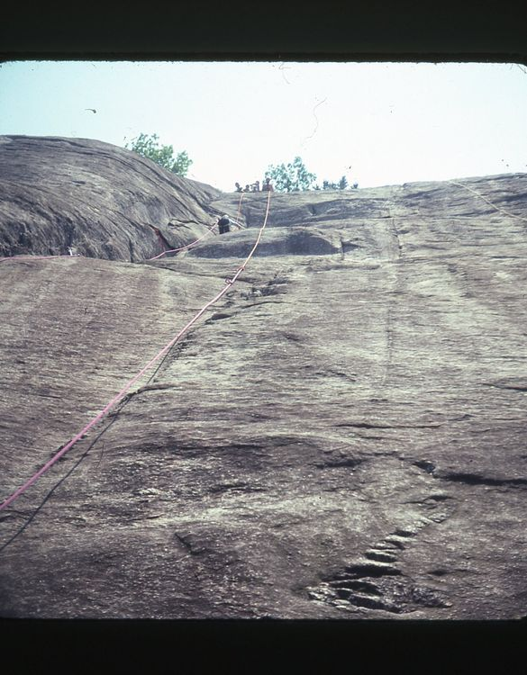 Climber's view up Gilberts Rock in 1978