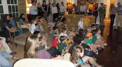 Falling Creek Camp families watching the camp movie at the McKee's home in Nashville on 10-16-12