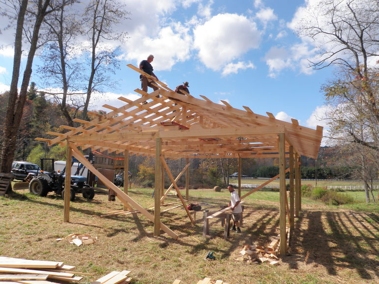 Jerry, Simon, and Drew working on a new Falling Creek Horse Shelter in Fishers Field
