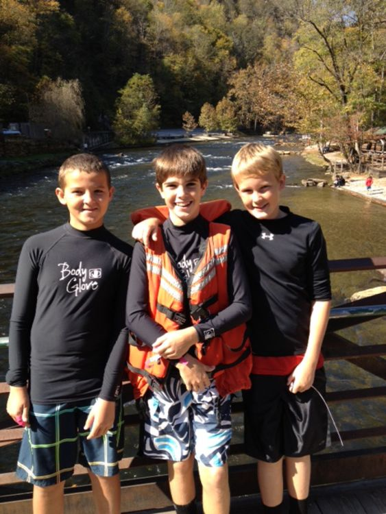 Tristan, Will, and Robert at the Appalachian Trail Crossing Bridge over the Nantahala River - October, 2012