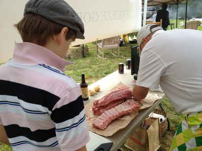 Jack and Goody working hard to get the barbeque prepared for cooking