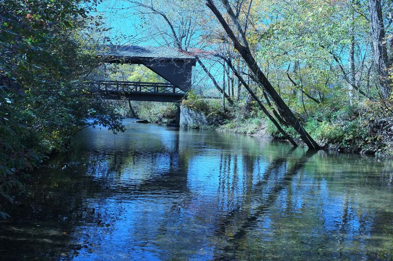 View of the Covered Bridge over the Green River as you enter Falling Creek Camp