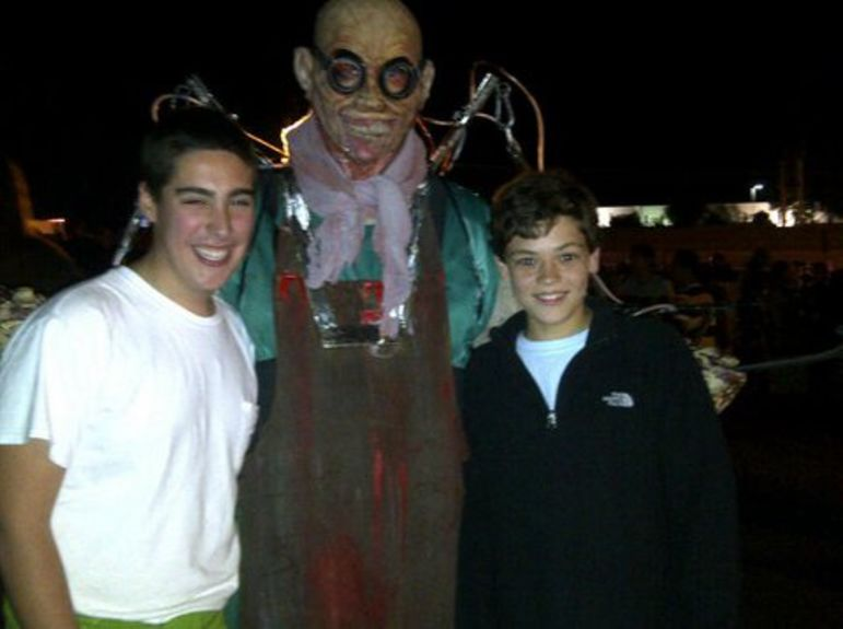 Falling Creek Camp friends Grant and Eric at NetherWorld Haunted House in Atlanta, Ga