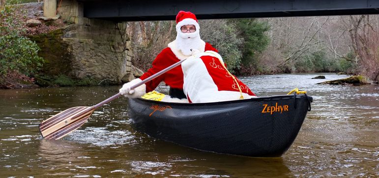 Santa was seen recently on the Green River below the Falling Creek Camp Covered Bridge