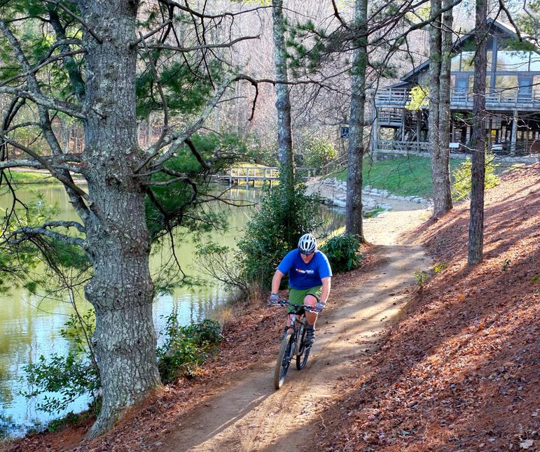 Ben Williams enjoying a mountain bike ride on the new upper lake trail