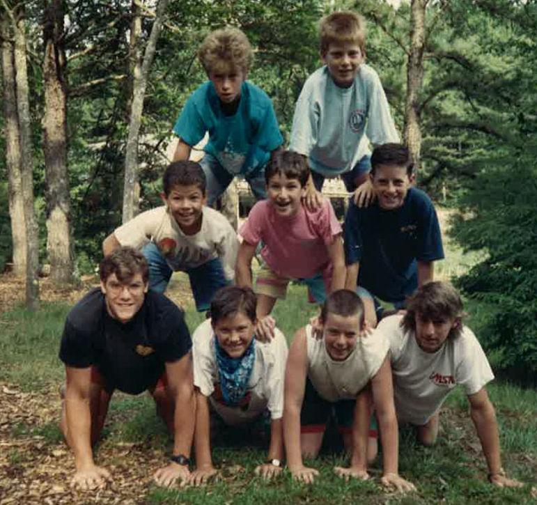 Yates (bottom left) and Rob Wall (right of Yates) at Falling Creek - Main Camp late 1980s