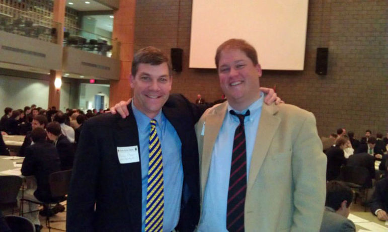 Rob Wall (right) and Yates at the KA Province Council on the VMI campus