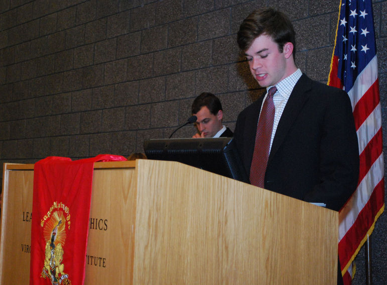 Davis Millians speaking to the 500+ participants of the  Kappa Alpha Order Province Council including North Carolina, Virginia, West Va., and Pennsylvania