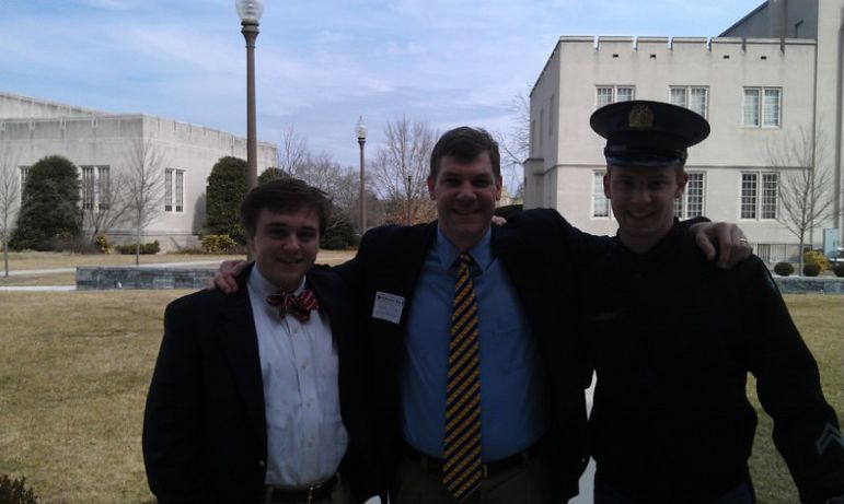 West Smithers (left) and Frank Hargrove (right) outside of General Marshall Hall on the campus of VMI