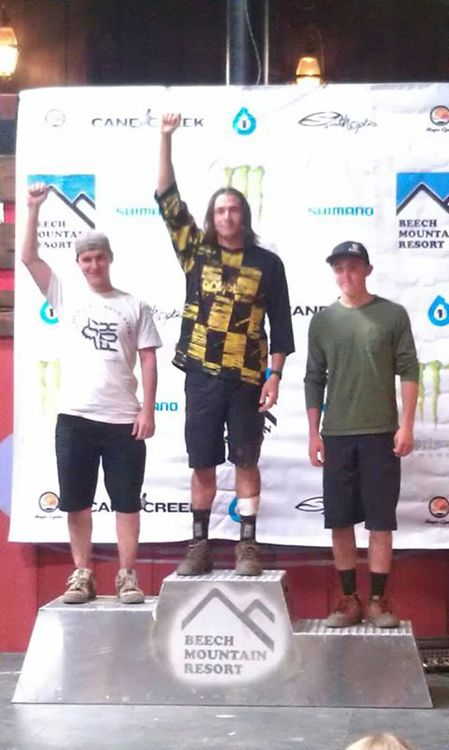 Dwayne Maynard taking 1st in Cat 2 Division at the Monster Energy Race Series at Beech Mountain, NC