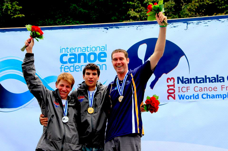 Jez accepting the bronze medal in the World OC1 Championships