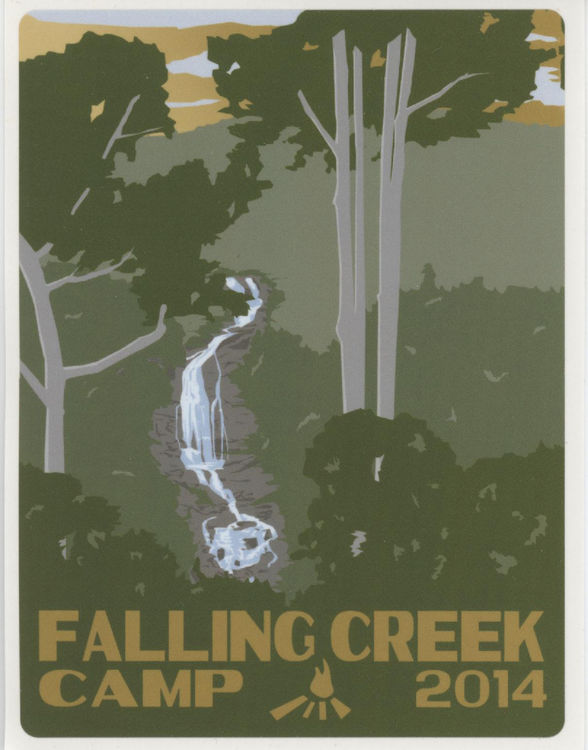 The 2014 Limited Edition Falling Creek Camp Trunk Sticker designed by 2013 staff member Jacob McKee.