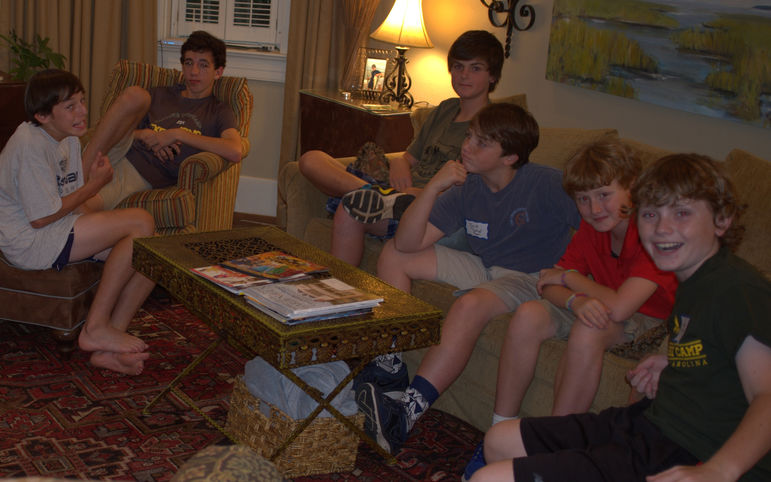 Many of the boys enjoyed catching up.  There's nothing like camp friendships