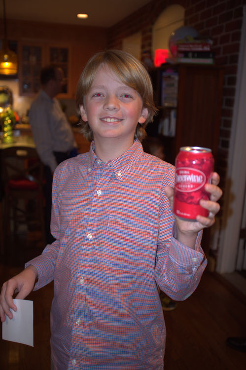 Henry Fant is thrilled to receive a Cheerwine at the Falling Creek Camp Movies & Reunion in Alexandria, VA