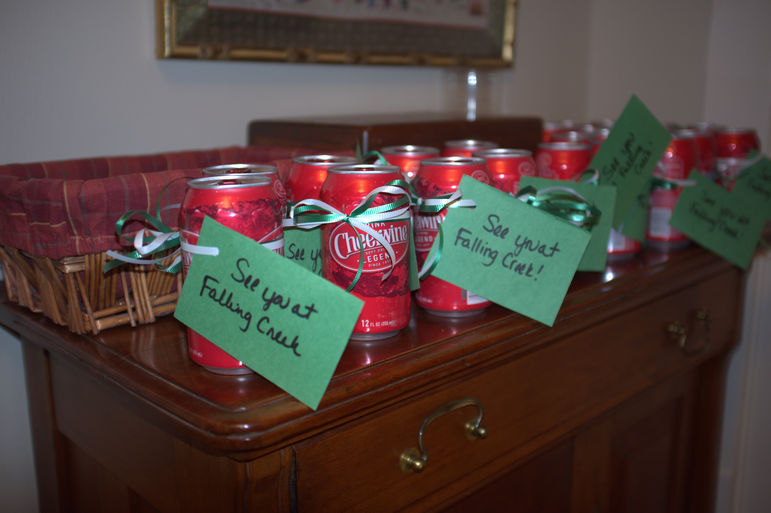 Lisa & Tucker Eskew gave the boys that attended a Falling Creek favorite as a 'party favor, a Cheerwine as they left.