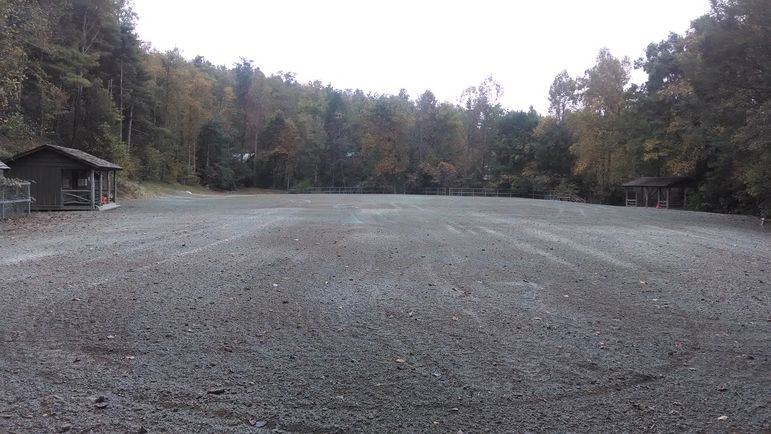 View of the newly laser graded ball field at Falling Creek Camp from the edge of the Iroquois Tribal area.