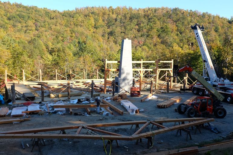 The Douglas Fir Framing Going into place on the Falling Creek Camp Gym 10-25-13