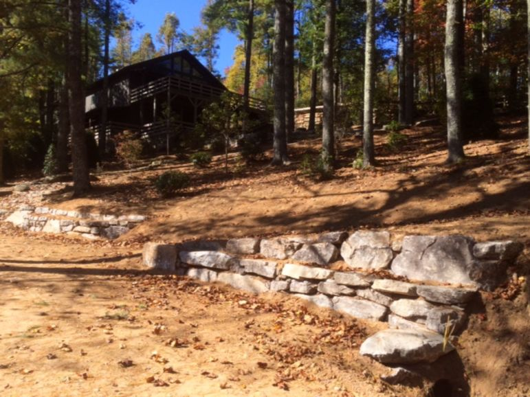 View toward Miller Lodge with the new path leading off to the right between the new rock walls