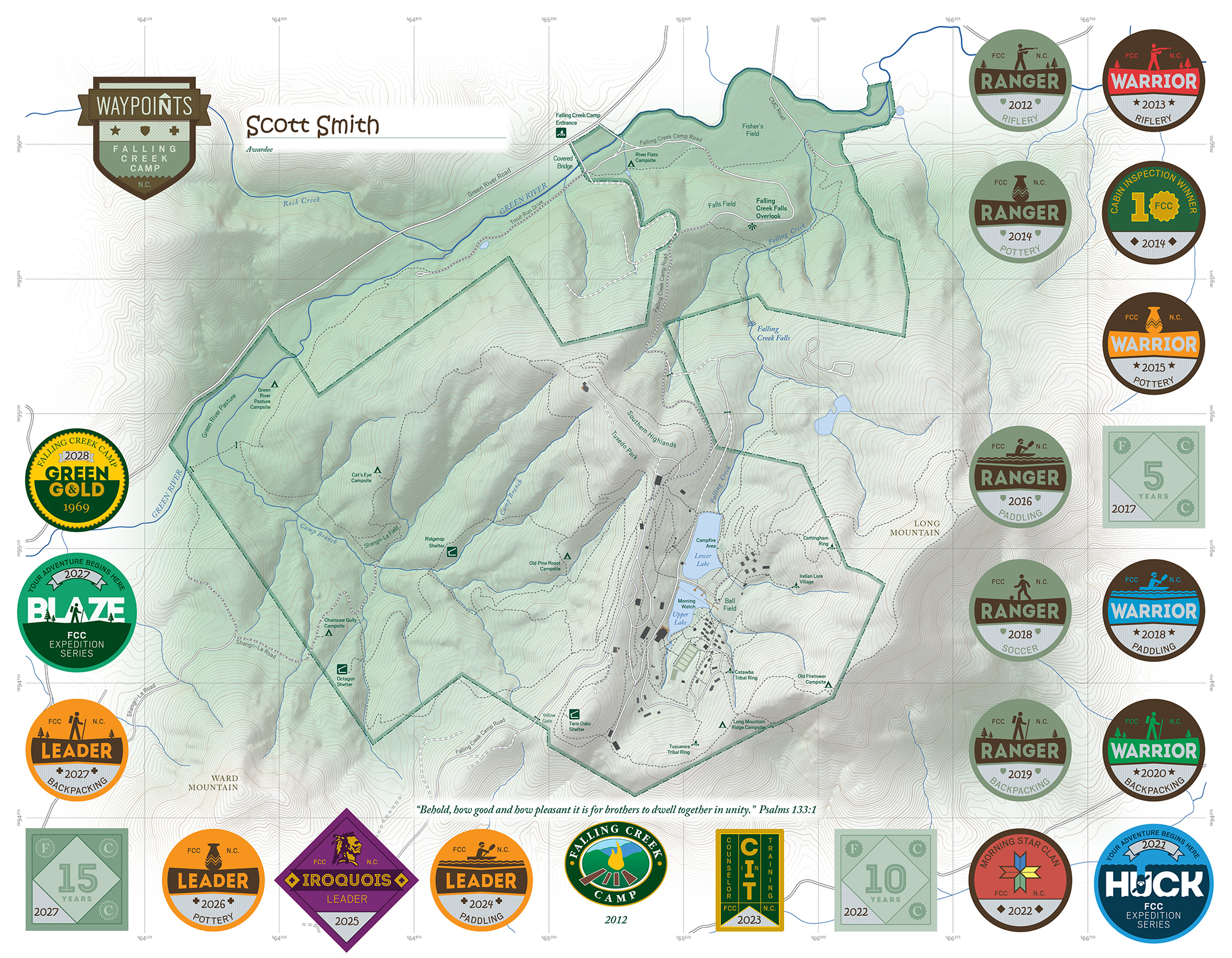 Waypoints are highly sought after by campers and staff alike. We encourage the boys to challenge themselves to progress in the many activities offered at Falling Creek. Achievements are rewarded with Waypoint Markers at the end of each session and are proudly displayed on a frame-worthy map of Falling Creek's campus. New campers and staff receive a map after their first summer.