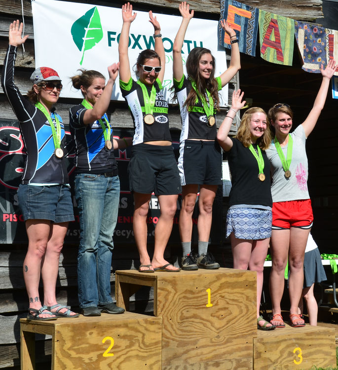 FCC Staff member Allison Jones (3rd from right) and Annie Pharr (2nd from right) represented on the podium in the open women's race.