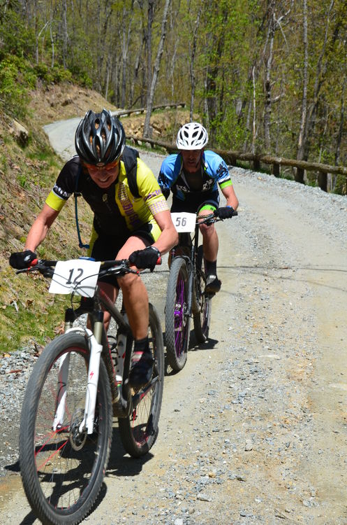 Two racers pushing hard up the 1.5 mile climb at the beginning of the 8 mile loop.  They don't call it 'Gear Grinder' for nothing!