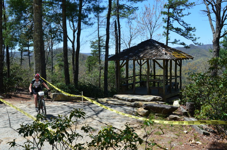 Riders passed the Overlook shelter on Reptar Trail