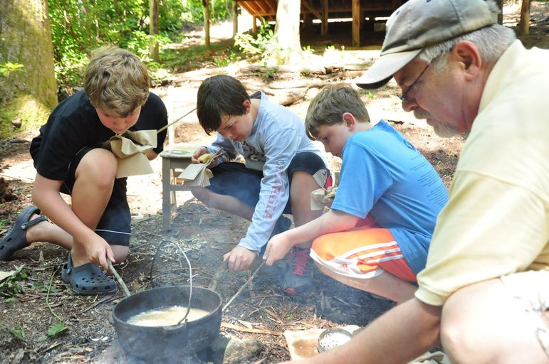 Jim and boys making the famous fry bread