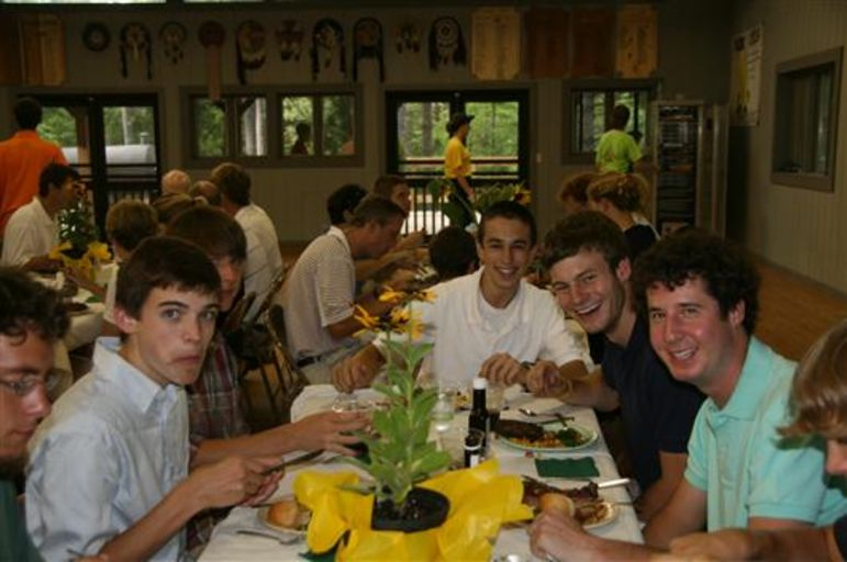 Mickey at 5-Year Dinner as a camper