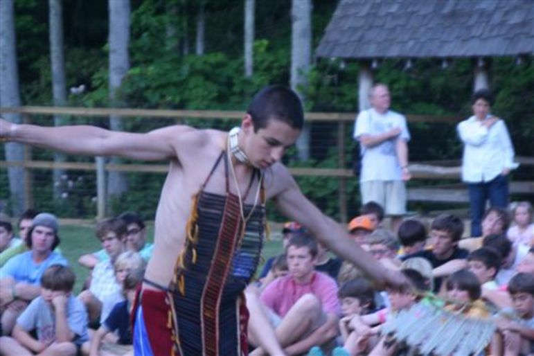 Mickey performing the famous Eagle Dance as a camper at the Main Camp Indian Lore Grand Council
