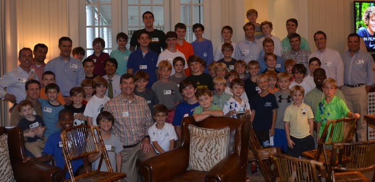 Lots of returning campers, new familes, alumni, staff, and dads who have been to Father/Son weekend enjoyed having their group photo taken.