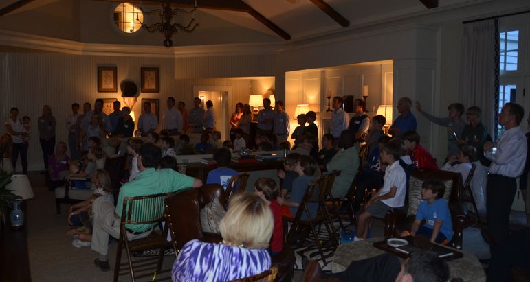 It was a standing room only large group watching the new camp movie