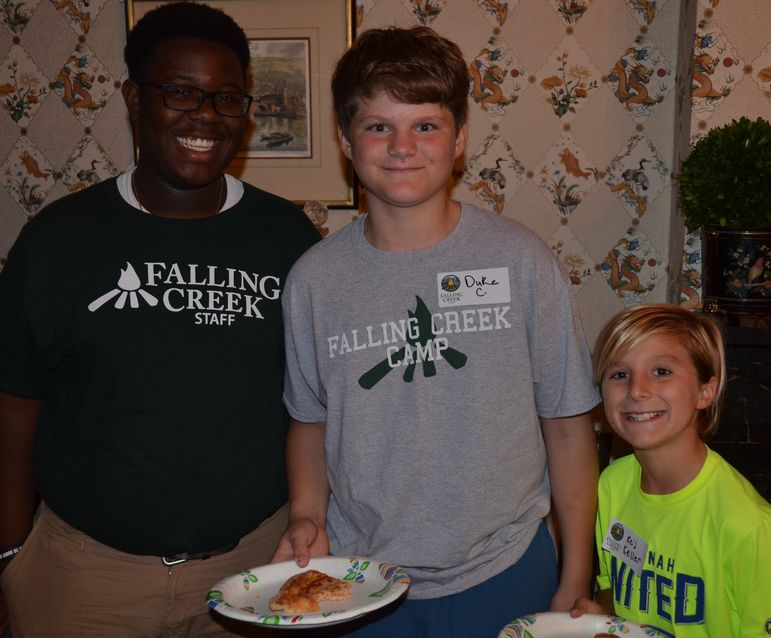 Duke and Reid enjoy eating pizza together and telling stories about camp this past summer.  KD Lemons, who was on staff this past summer, took time out of his busy schedule at Georgia Southern to come say hello to everyone at the show tonight.