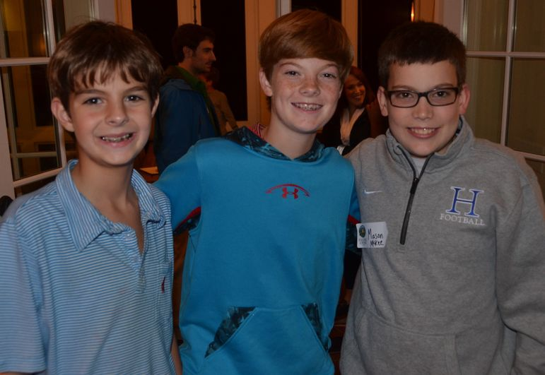 Campers Marshall, Peyton and Mason enjoying reconnecting their camp friendships.