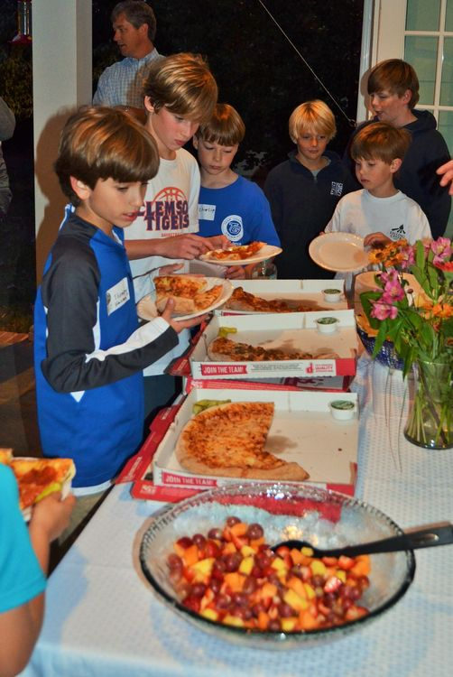 Pizza is a big hit on a fun night like this.