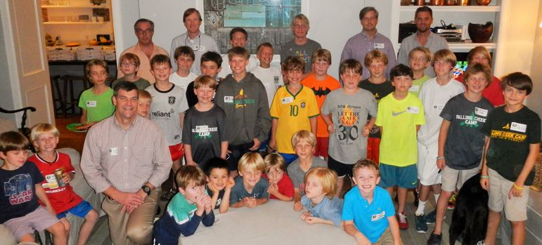There was a large group of returning campers tonight that welcomed the new families who came to learn more about FCC.  The alumni and dads who have attended Father/Son Weekend joined these boys in a group photo.