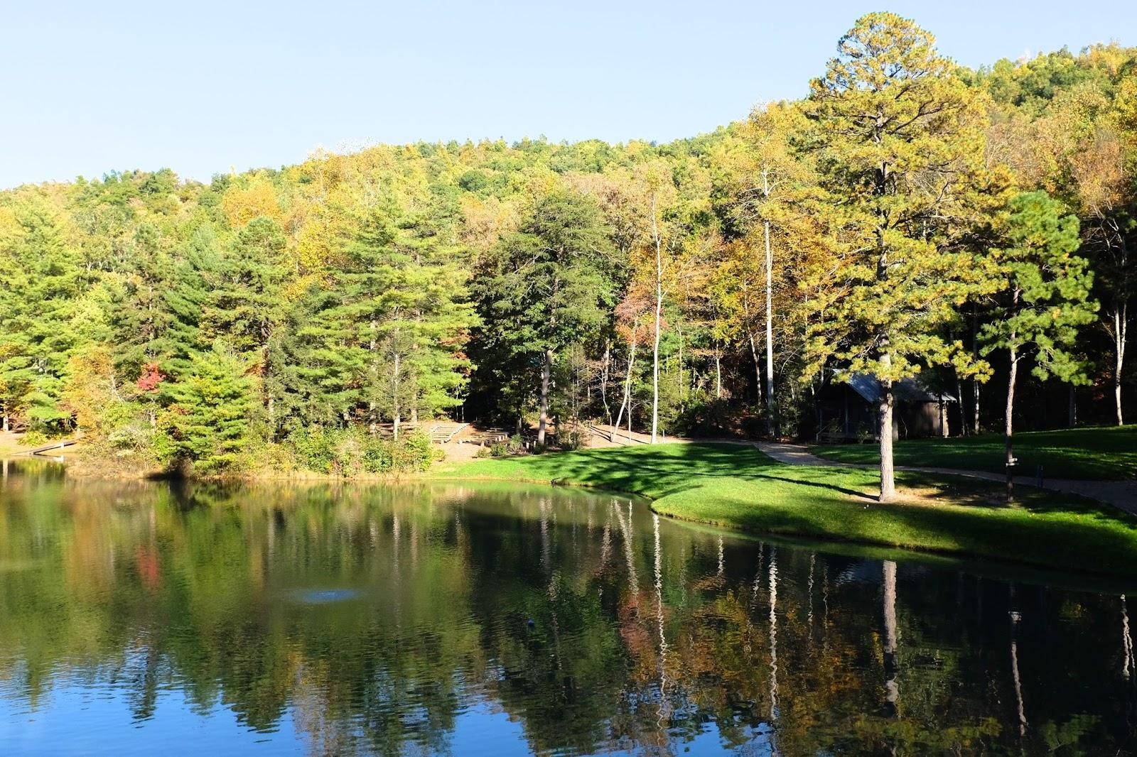 The leaves are beginning to gain color in mid-October, overlooking Upper Lake.