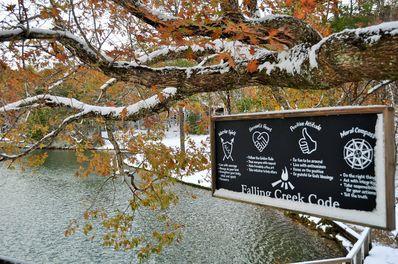 Falling Creek Snowy Sign