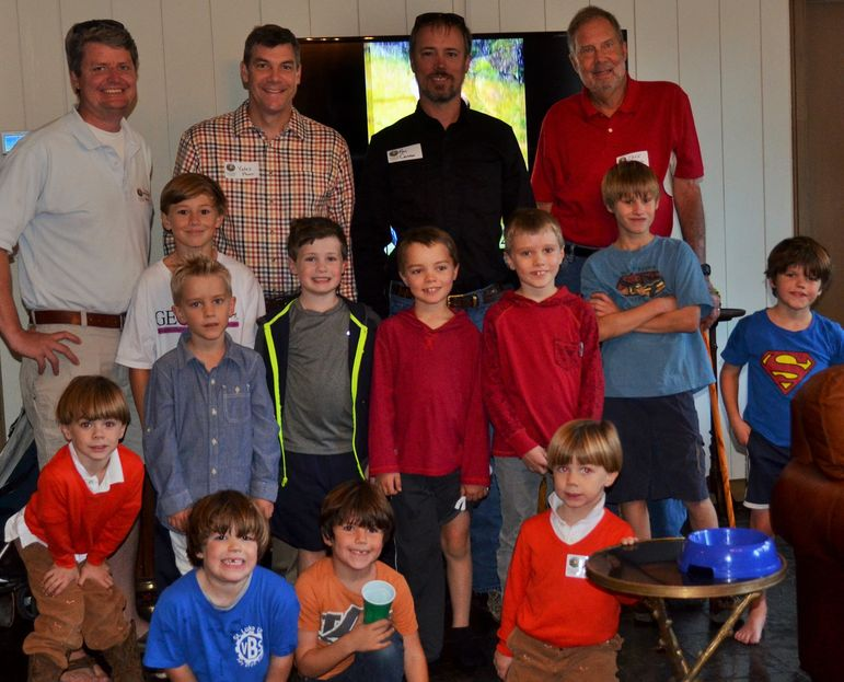 Falling Creek Campers, boys who came to learn about camp, alumni, and dads who have attended Father/Son Weekend, posed for a group shot.